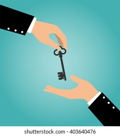 Business hand giving a house key to another hand, Buy Rental and Sell Concept