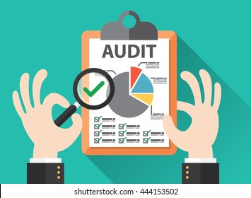 Business hand held magnifier on paperwork sheet, Audit concept. Vector illustration. Flat design