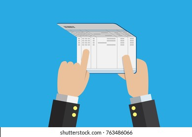 business hand holding account passbook, financial and business concept