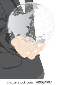 Business hand holding earth globe, Vector Illustration EPS 10.