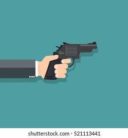 Business hand holding a gun - vector illustration