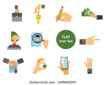 Business Hand Icon Set. Thumb Up Press Button Pointing Finger Writing Raising Hands Palm Holding Key Phone Puzzle Briefcase Hand With Banknotes Magnifier Partnership