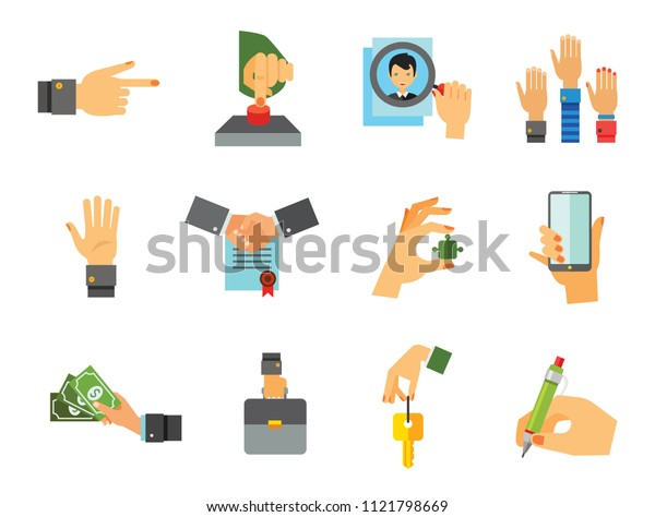 Business Hand Icon Set. Thumb Up Press Button Pointing Finger Writing Raising Hands Palm Hand With Key Holding Phone Hand With Puzzle Briefcase Banknotes Magnifier Partnership