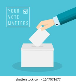 Business hand putting a ballot in a ballot box. Vote concept flat drawn style vector design illustration