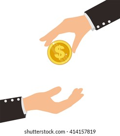 Business Hand Receiving Coin From Another Person, Finance Concept