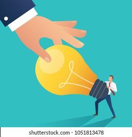 Business hand stealing idea light bulb. plagiarism concept business vector illustration. Flat design style.