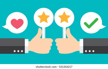 Business hand thumbs up with customer review, give a star. Positive feedback concept. Vector illustration. Modern flat design.