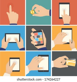 Business hands action, pointers to touch digital devices, e-commerce. Internet shopping on digital tablet, business concept