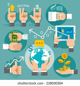 Business hands concept icons. Vector illustration. Can be used for workflow layout, banner, diagram, web design, infographic template.