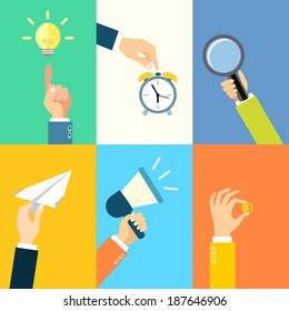 Business hands gestures design elements of pointing lightbulb idea touching alarm clock isolated vector illustration
