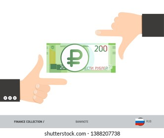 Business hands measuring 200 Russian Ruble Banknote. Flat style vector illustration. Finance concept.