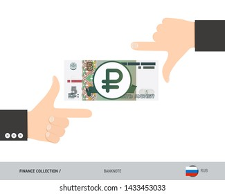 Business hands measuring 5 Russian Ruble Banknote. Flat style vector illustration. Finance concept.