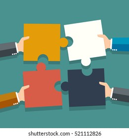 Business Hands putting puzzle pieces together -vector illustration