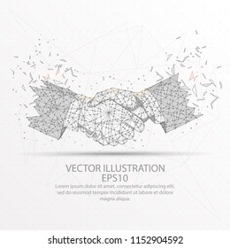 Business handshake abstract mesh line and composition digitally drawn starry sky or space in the form of broken a part triangle shape and scattered dots low poly wire frame.