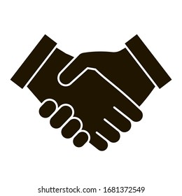 Business handshake black icon, contractual agreement, line art. Sign contract, partnership, peace. Vector