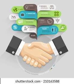 Business handshake and bubble speech template style. Vector illustration. can be used for workflow layout, diagram, number options, step up options, web design, banner template, infographic.