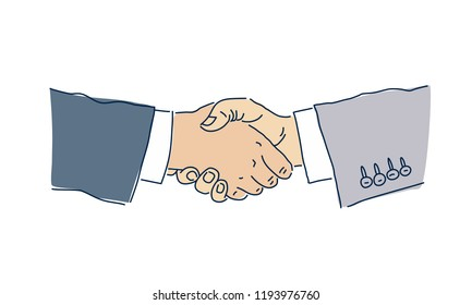 Business handshake. The concept of the transaction. Vector illustration on white background. Man's hands. Deal.