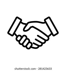 Business handshake / contract agreement line art icon for apps and websites