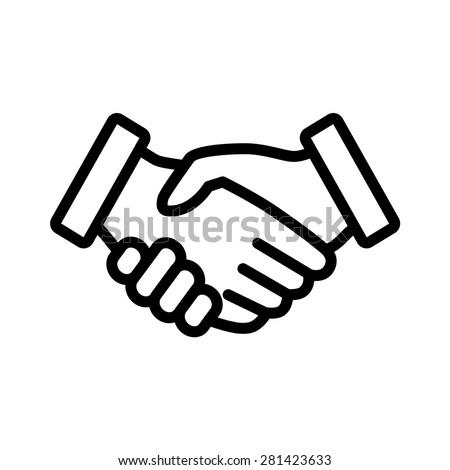 Business Handshake Contract Agreement Line Art Stock Vector Royalty