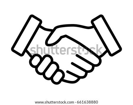 Business Handshake Contract Agreement Thin Line Stock Vector
