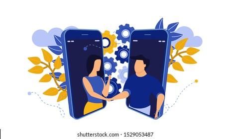 Business handshake deal illustration relationship trust teamwork job. Partner man and woman startup money job concept vector. Cooperation success meeting office agree. Employment career businesspeople