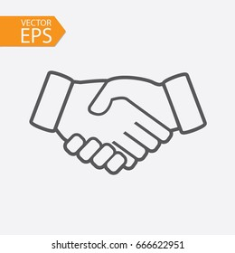 Business handshake icon. Contract agreement in line style on white background. Vector