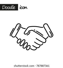Business handshake icon. Doodle line illustration.