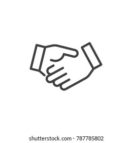 Business handshake line icon, outline vector sign, linear style pictogram isolated on white. Agreement, Shaking hands symbol, logo illustration. Editable stroke