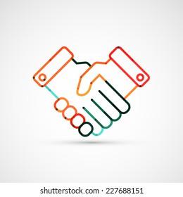 Business handshake. Line style vector illustration