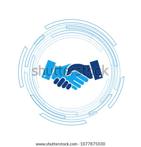 business handshake over a tech turning circle . vector illustration design over white background.
