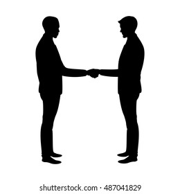Business handshake silhouette, isolated on white,stock vector illustration
