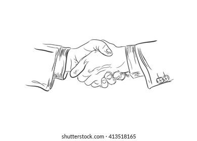 Business handshake, sketch, vector illustration