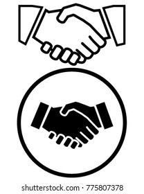 Business handshake solid icon, contract and agreement, vector graphics