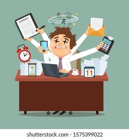Business hard work, illustration vector cartoon