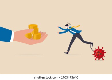 Business help, government economic stimulus package in COVID-19 Coronavirus financial crisis concept, businessman with protective mask chain with virus pathogen running to get money from helping hand.