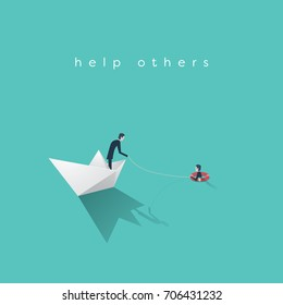 Business help vector concept. Bankruptcy, government bailout symbol with businessman on paper boat and drowning man in life preserver. Eps10 vector illustration.