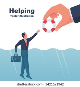 Business helping concept. Male with a life buoy in water. Businessman gives a helping hand to an employee. To give help man, metaphor. Vector illustration flat design. Isolated on white background.