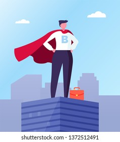 Business hero, leader in superhero cloak on top of skyscraper in city center. Vector businessman with red briefcase, superhuman big boss, commercial director