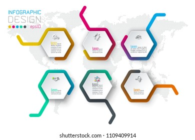 Business hexagon labels shape infographic on row bar.