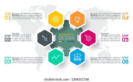 Business hexagon labels shape infographic circles bar.