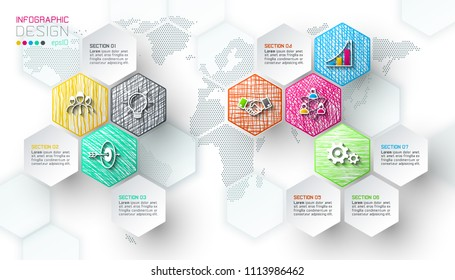 Business hexagon net labels shape infographic bar.