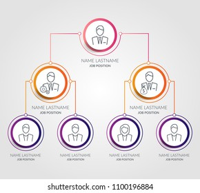 Business hierarchy circle chart infographics. Corporate organizational structure graphic elements. Company organization branches template. Tree diagram