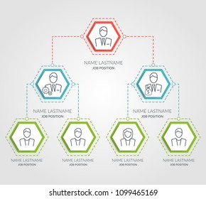 Business hierarchy hexagon chart infographics. Corporate organizational structure graphic elements. Company organization branches template. Tree diagram