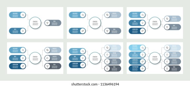 Business hierarchy infographic. Organization chart with 3, 4, 5, 6, 7, 8 options. Vector presentation template.