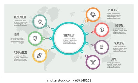 Business hierarchy infographic. Organization chart with 7 options. Vector template.