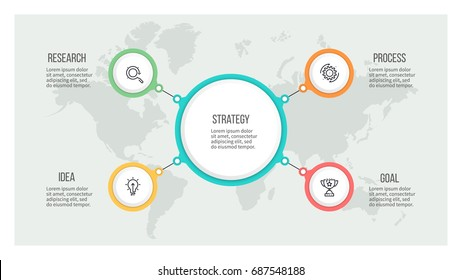 Business hierarchy infographic. Organization chart with 4 options. Vector template.