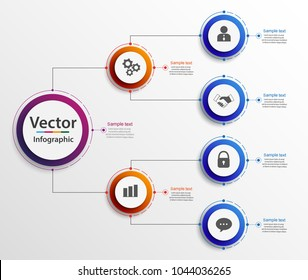 Business hierarchy organogram chart infographics. Corporate organizational structure graphic elements. Infographic design template with circles. Vector eps 10