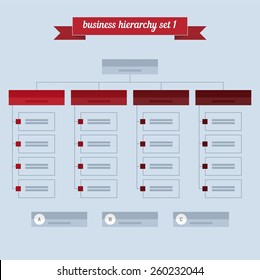 Business hierarchy set 1. Flat style design - vector. Can be used for workflow layout, diagram, number options, step up options, web design, infographics.