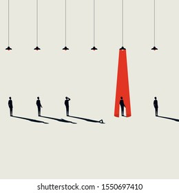 Business hiring and recruitment vector concept with spotlight on one person from crowd. Career opportunity symbol. Selection and individual talent searching. Eps10 illustration.