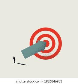 Business hit target vector concept with businessman hitting bullseye. Symbol of success, achievement. Eps10 illustration.